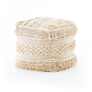 Four Hands Braided Fringe Pouf - Cream