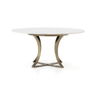 "Four Hands Gage Dining Table - 60"" - Polished White Mar"