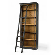 Four Hands Ivy Bookcase And Ladder - Matte Black