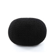 Four Hands Jute Knit Pouf - Black
