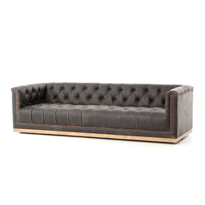 "Four Hands Maxx Sofa - 95"" - Destroyed Black"