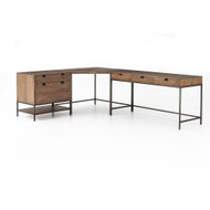 Four Hands Trey Desk System With Filing Cabinet