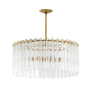 Nessa Round Chandelier - Clear/Antique Brass
