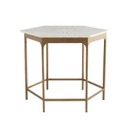 Mae End Table - Antique Brass/White