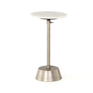 Four Hands Bree Adjustable Accent Table - Antique Pewter - White Marble