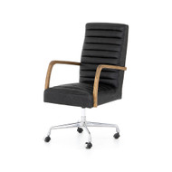 Four Hands Bryson Channeled Desk Chair-Smoke - Toasted Nettlewood - Stainless Steel - Durango Smoke