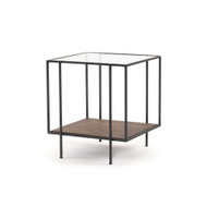Four Hands Byron End Table-Aged Brown - Aged Brown - Dark Iron - Tempered Glass