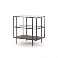 Four Hands Byron Nightstand - Dark Iron - Aged Brown - Tempered Glass