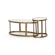 Four Hands Calder Nesting Coffee Table - Raw Brass - Tempered Glass - Polished White Marble