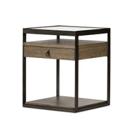 Four Hands Carlson Nightstand - Monument Grey Oak Veneer - Gunmetal - Tempered Glass