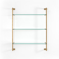 Four Hands Collette Wall Shelf - Antique Gold - Tempered Glass