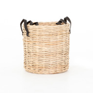 Four Hands Ember Natural Baskets - Set Of 3 - Natural Cross Weave - Dark Brown Leather