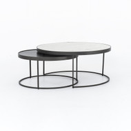 Four Hands Evelyn Round Nesting Coffee Table - Gunmetal - Polished White Marble