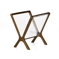 Four Hands Feldman Magazine Rack - Rustic Brass - Clear Acrylic