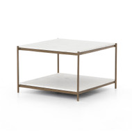 Four Hands Felix Bunching Table - Antique Brass - Polished White Marble