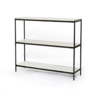 Four Hands Felix Small Console Table - Hammered Grey W/Clear Powder Coat - Polished White Marble
