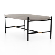 Four Hands Finian Coffee Table - Natural Concrete - Natural Brass - Matte Black