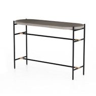 Four Hands Finian Console Table - Natural Concrete - Natural Brass - Matte Black