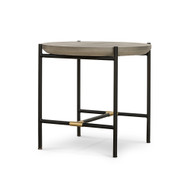 Four Hands Finian End Table - Natural Concrete - Natural Brass - Matte Black