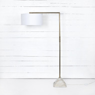 Four Hands Hartford Floor Lamp-Patina Brass - Patina Brass - White Marble - White