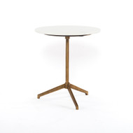 Four Hands Helen End Table - Raw Brass - Polished White Marble