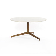 Four Hands Helen Round Coffee Table - Raw Brass - Polished White Marble