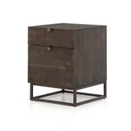 Four Hands Kelby Filing Cabinet - Carved Vintage Brown - Vintage Brown - Gunmetal
