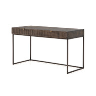 Four Hands Kelby Writing Desk - Carved Vintage Brown - Gunmetal - Vintage Brown