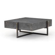 Four Hands Keppler Square Coffee Table-Bluestone - Light Rustic Black - Bluestone
