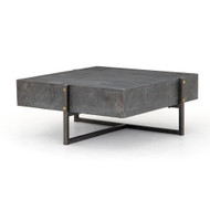 Four Hands Keppler Square Coffee Table-Bluestone - Light Rustic Black - Bluestone