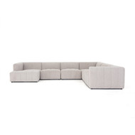 Four Hands Langham Channeled 6-Pc LAF Chaise Sectional - Napa Sandstone