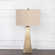 Four Hands Leander Table Lamp - Dark Antique Brass - Light Antique Brass - Light Beige