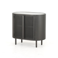 Four Hands Libby Cabinet Nightstand - Perforated Gunmetal - Gunmetal - Polished White Marble