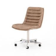 Four Hands Malibu Desk Chair - Shiny Steel - Natural Washed Mushroom