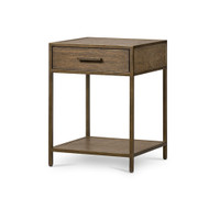 Four Hands Mason Nightstand - Dark Hazel - Rubbed Bronze