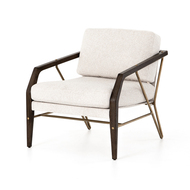 Four Hands Mischa Chair-Elder Sand/Sienna Brown - Elder Sand - Polished Brass