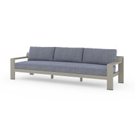 """Four Hands Monterey Outdoor Sofa 106"""", Weathered Grey - Faye Navy - Weathered Grey"""