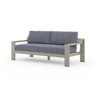 Four Hands Monterey Outdoor Sofa, Weathered Grey - Faye Navy - Weathered Grey