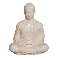 Meditating Buddha - White Crackle - Large