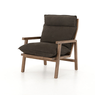 Four Hands Orion Chair - Nubuck Charcoal - Antique Walnut