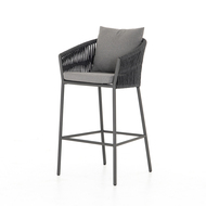 Four Hands Porto Outdoor Bar Stool - Charcoal - Bronze