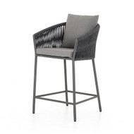 Four Hands Porto Outdoor Counter Stool - Charcoal - Bronze
