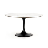 Four Hands Powell Dining Table - Dark Rustic Black - Weathered Ash - White Marble