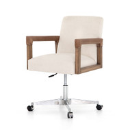 Four Hands Reuben Desk Chair-Harbor Natural - Lamont Nettlewood - Chaps Saddle - Stainless Steel - Harbor Natural