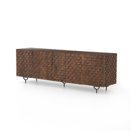 Four Hands Rio Media Console - Gunmetal - Round Cut Antique Brown - Antique Brown