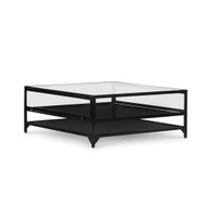 Four Hands Shadow Box Square Coffee Table - Black - Tempered Glass