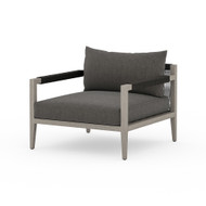 Four Hands Sherwood Outdoor Chair, Weathered Grey - Charcoal - Weathered Grey - Dark Grey Rope