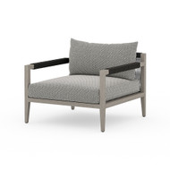 Four Hands Sherwood Outdoor Chair, Weathered Grey - Faye Ash - Weathered Grey - Dark Grey Rope