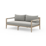 "Four Hands Sherwood Outdoor Sofa 63"", Washed Brown - Faye Ash - Washed Brown - Grey Rope"