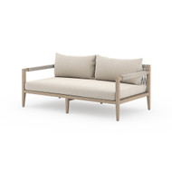 "Four Hands Sherwood Outdoor Sofa 63"", Washed Brown - Faye Sand - Washed Brown - Grey Rope"